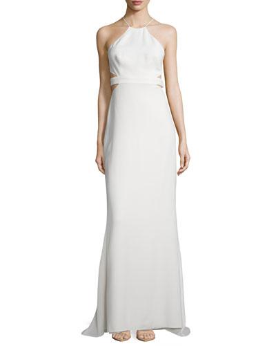 Halter Back-Cutout Cocktail Gown, Bone