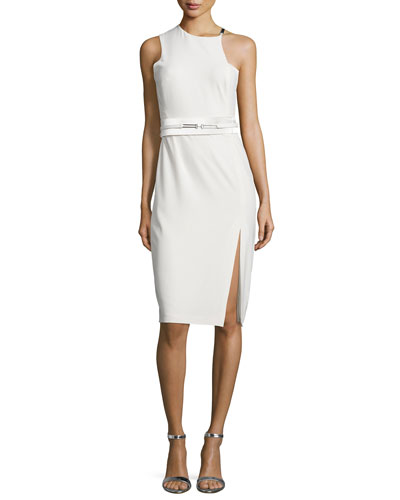 Belted Asymmetric Sheath Dress
