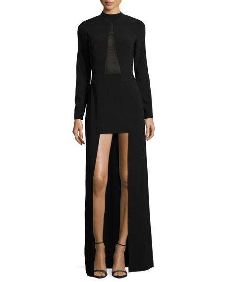Halston Heritage Mock-Neck High-Low Gown