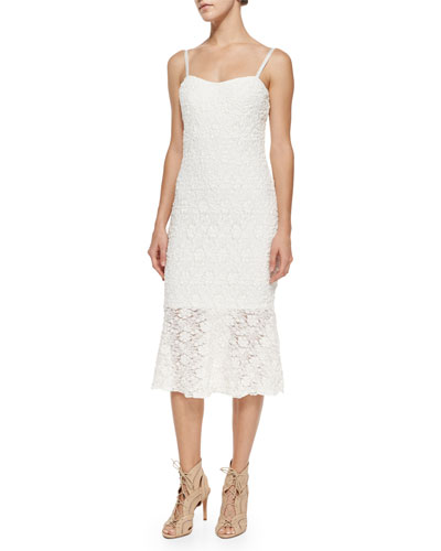 Havana Ruffle-Trim Lace Dress, White