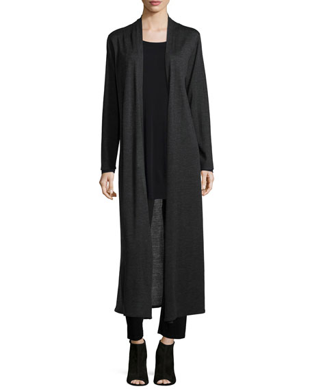 Eileen Fisher Merino Wool Maxi Cardigan, Silk Jersey Long-Sleeve ...