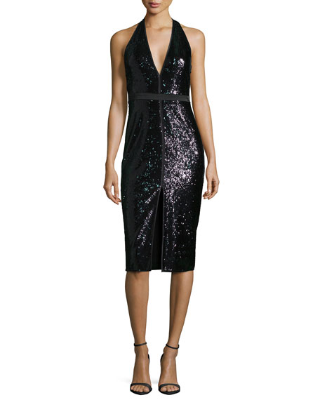Halston Heritage Sleeveless V-Neck Sequined Cocktail Dress
