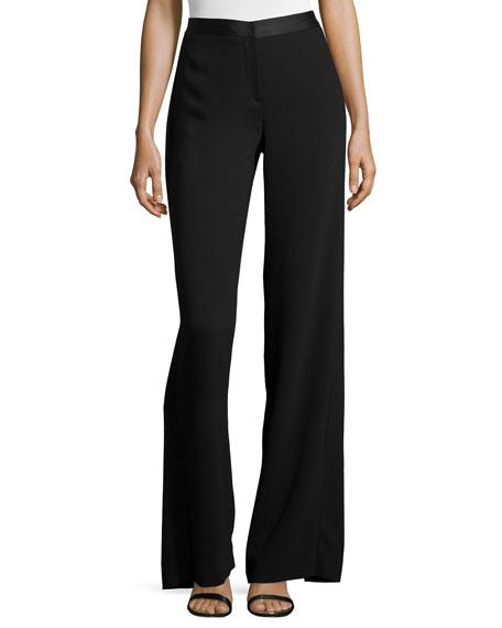 Halston Heritage Wide-Leg Trouser Pants W/ Back Overlay