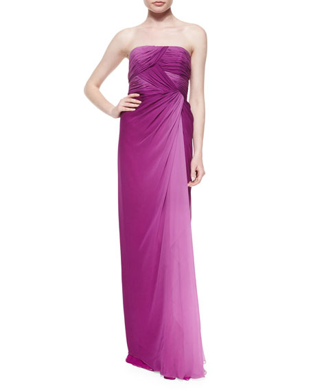 Melinda Eng Strapless Gathered Ombre Gown