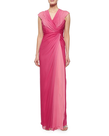 Melinda Eng Cap-Sleeve Ruched Ombre Gown, Rose