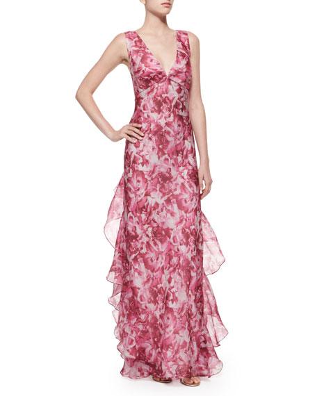 Melinda Eng Rose-Print Organza Ruffle Gown