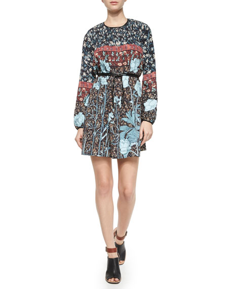 Clover Canyon Bohemian Rhapsody Floral Chiffon Dress,