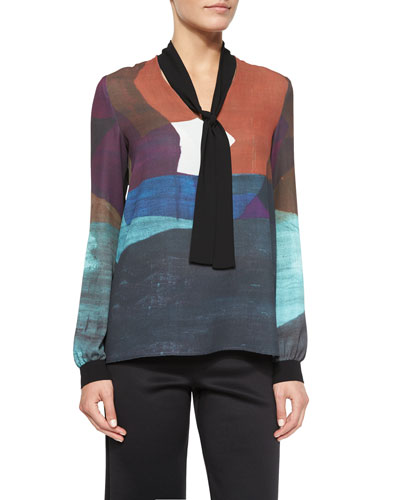 Textured Ink Tie-Neck Top