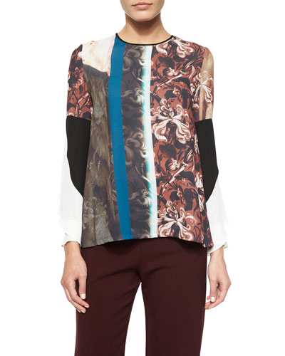 Distressed Wallpaper Long-Sleeve Top