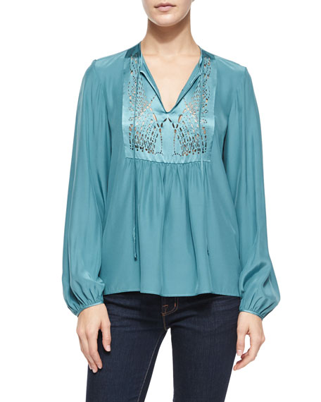 Clover Canyon Laser-Cut-Bib Peasant Top, Teal