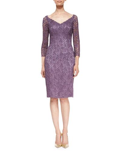 3/4-Sleeve Floral Lace Cocktail Dress, Mauve