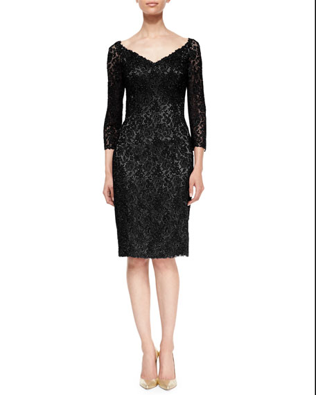 Helen Morley 3/4-Sleeve Floral Lace Cocktail Dress, Black