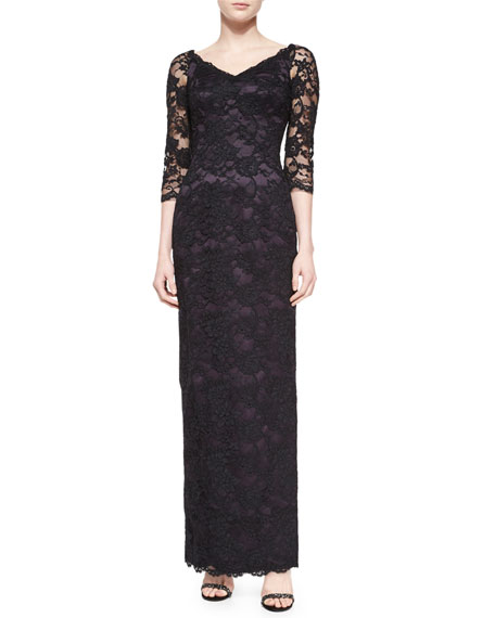 Helen Morley 3/4-Sleeve Floral Lace-Overlay Gown