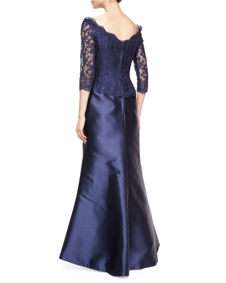 Off-The-Shoulder Beaded Lace & Satin Gown