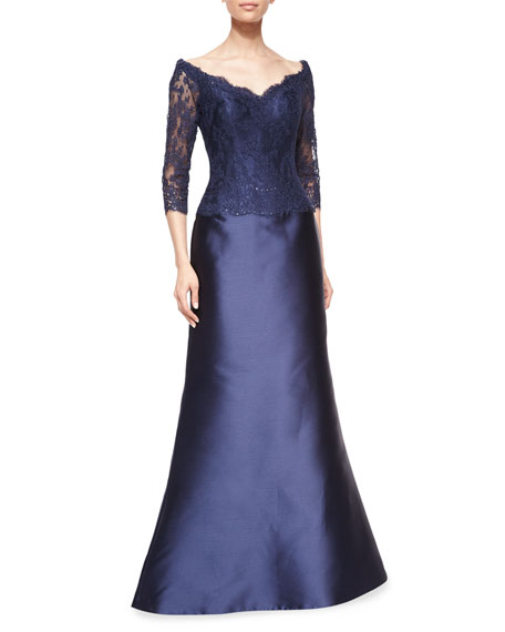 Helen Morley Off-The-Shoulder Beaded Lace & Satin Gown