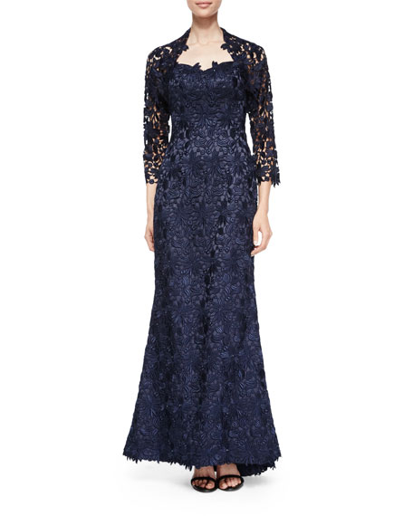 Helen Morley Strapless Lace Gown w/ Bolero, Navy