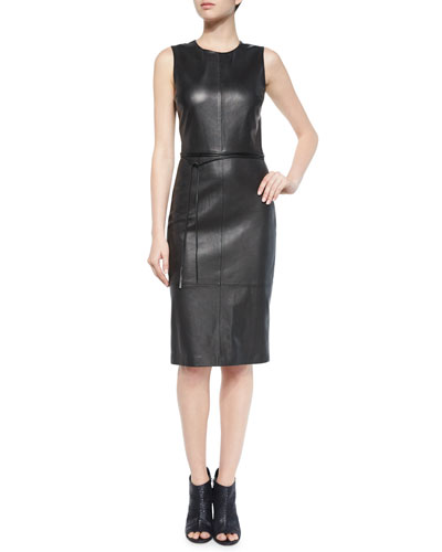 Leather Belted Sheath Dress, Black