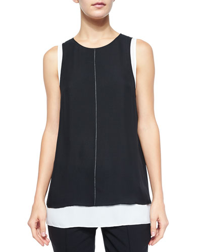 Round-Neck Double-Layer Tank Top