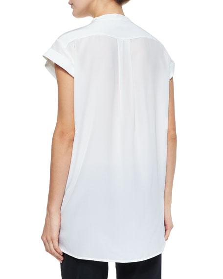 Cap-Sleeve Frayed-Edge Silk Blouse