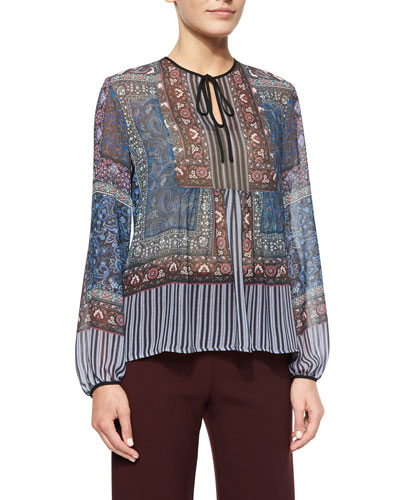 Patchwork Paisley Peasant Top
