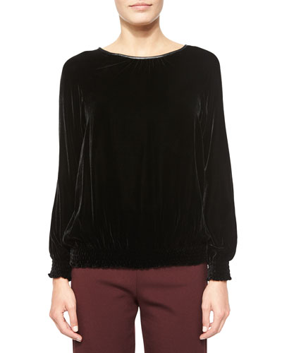 Long-Sleeve Velvet Top, Black