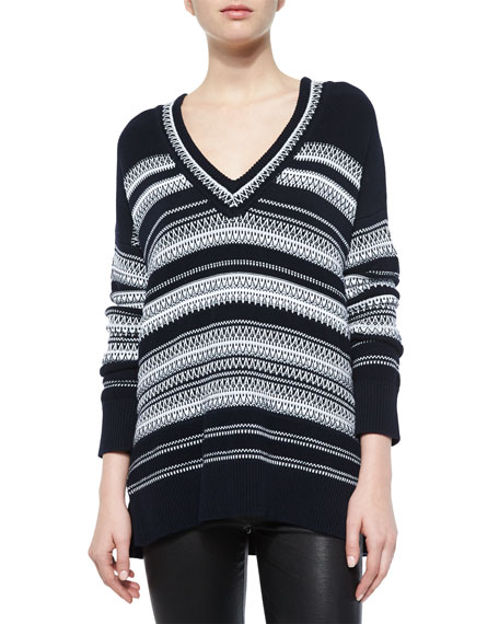 Textured-Stitch Long-Sleeve Sweater, Coastal/Off White