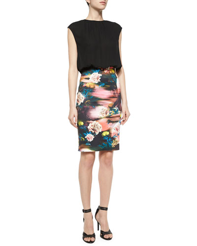 Combo Dress w/Botanical Breeze Print Skirt
