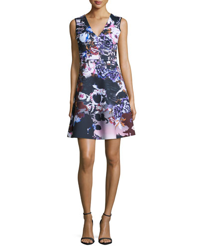 Poetic Petals Sleeveless A-Line Dress