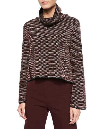 Long-Sleeve Textured-Knit Top, Black/Multicolor