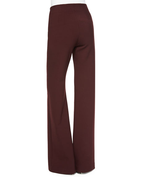 Clover Canyon Jersey High-Waist Flare Pants, Burgundy