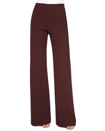 Jersey High-Waist Flare Pants, Burgundy