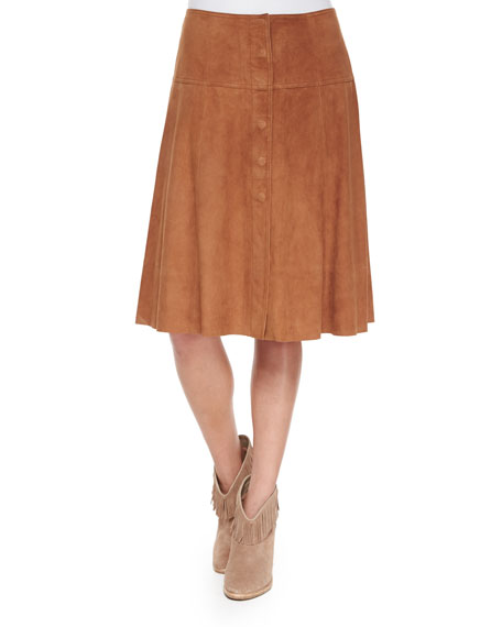 JoieMylon Suede Skirt, Saddle