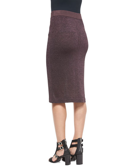 Marie Metallic Knit Pencil Skirt, Nightshade