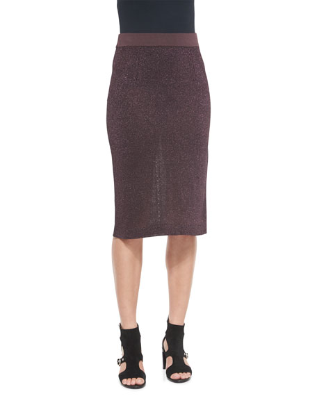 Rag & Bone Marie Metallic Knit Pencil Skirt, Nightshade