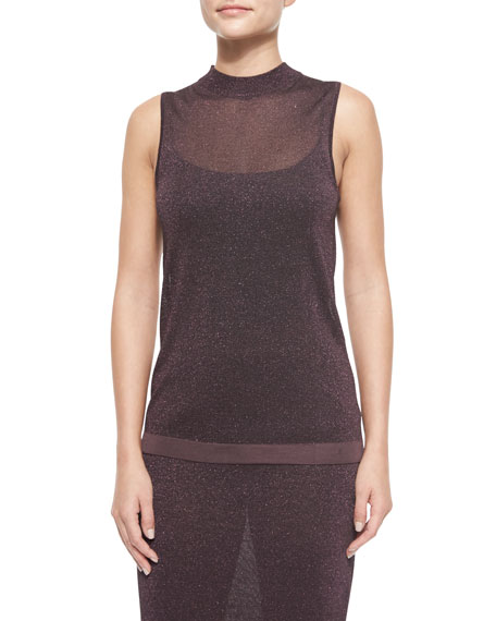 Rag & Bone Marie Metallic Knit Sleeveless Top, Nightshade