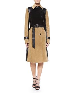 Suede/Leather Colorblock Belted Trenchcoat