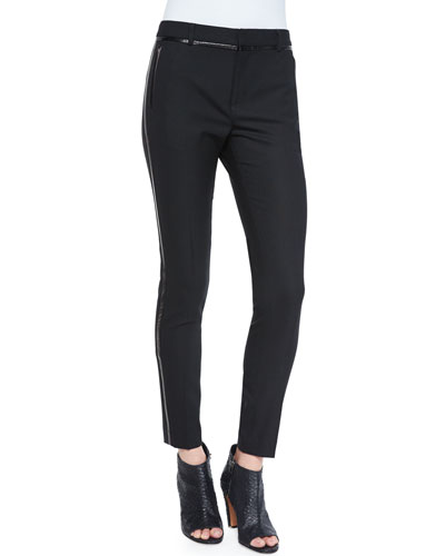 Vince Leather-Piped Slim-Fit Trousers, Black