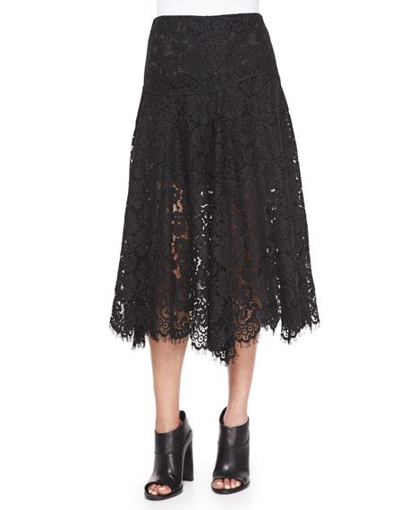 Veronica Beard Warren Lace A-Line Skirt, Black