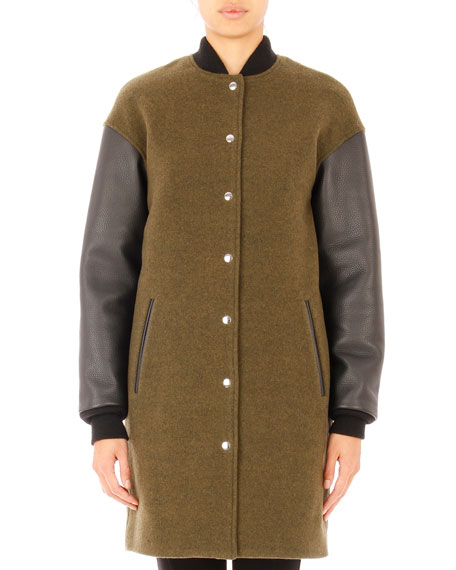 T by Alexander Wang Leather-Sleeve Wool-Blend Bomber Jacket, Lichen