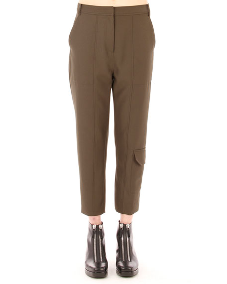 T by Alexander Wang Sleek Cropped Cargo Pants, Lichen