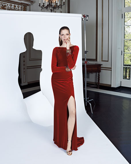 Long-Sleeve Ruched Velvet Gown