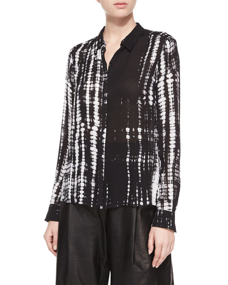 A.L.C. Song Tie-Dye Silk Blouse, Black/White