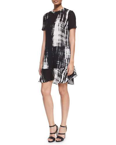 Louise Tie-Dye Print Silk Dress, Black/White