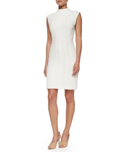 Meg Fitted Multi-Seam Open-Back Dress, Cream