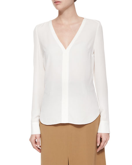 A.L.C.Cleary Silk V-Neck Top, Eggshell