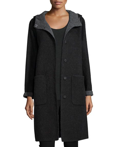 Alpaca Double-Face Knee-Length Coat, Petite