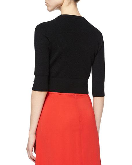 Hansen Merino 3/4-Sleeve Sweater, Black