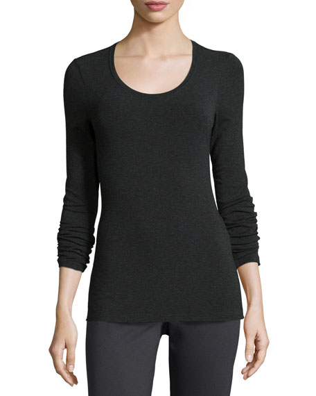 Eileen Fisher Long-Sleeve Jersey Cozy Tee, Charcoal, Petite