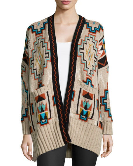 Golden by JPB Trance Tribal-Print Cardigan, Desert Skull