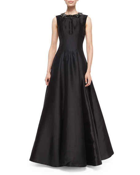 Rachel Gilbert Alexis Embellished-Neck Gown, Black